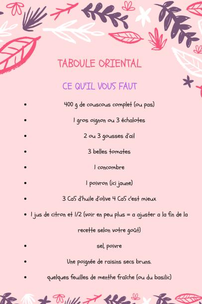 TABOULE ORIENTAL