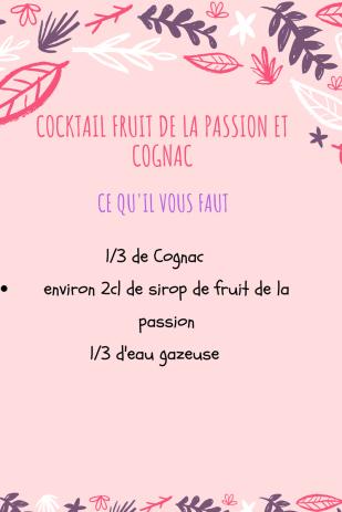 Cocktail fruit de la passion et cognac