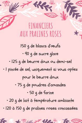 Financiers aux pralines roses